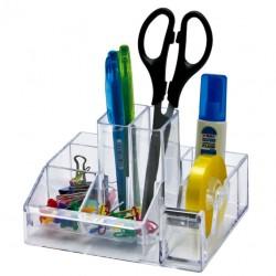 Suport plastic pentru accesorii de birou, 8 compartimente, 148 x 87mm, KEJEA - transparent