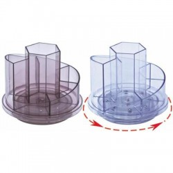 Suport plastic pentru accesorii de birou, rotativ, 7 compartimente, KEJEA - transparent