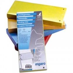 Separatoare carton pentru biblioraft, 180 g/mp, 105 x 240 mm, 100/set, KANGARO - galben