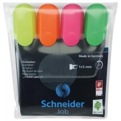 Textmarker SCHNEIDER Job, varf lat, 4 culori/set