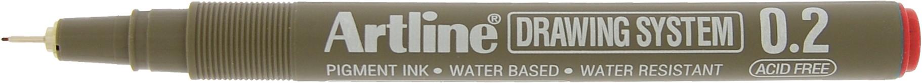 Marker pentru desen tehnic ARTLINE, varf fetru 0.2mm - rosu
