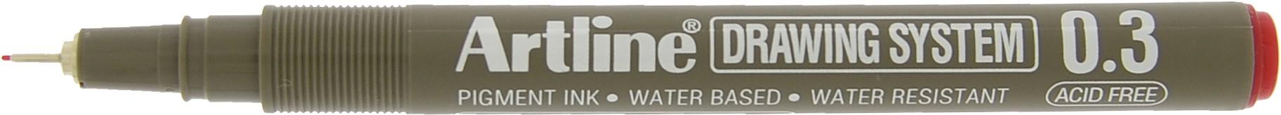 Marker pentru desen tehnic ARTLINE, varf fetru 0.3mm - rosu