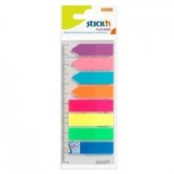 "Stick index plastic transp. color 45 x 12 mm, 8 x 25 file/set index sageata, Stick""n-8 culori neon"