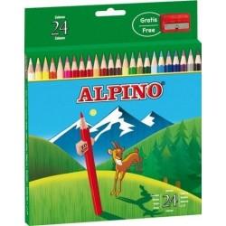 Creioane colorate, cutie carton, 24 culori/set, ALPINO