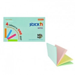 "Magic notes autoadeziv 76 x 127 mm, 100 file, Stick""n Magic Notes - 4 culori pastel"