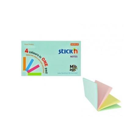 "Magic notes autoadeziv 76 x 127 mm, 100 file, Stick""n Magic Notes - 4 culori pastel"