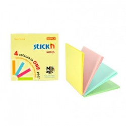 "Magic notes autoadeziv 76 x 76 mm, 100 file, Stick""n Magic Notes - 4 culori pastel"