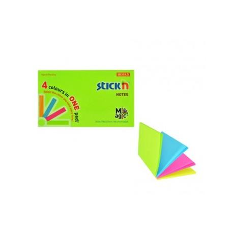 "Magic notes autoadeziv 76 x 127 mm, 100 file, Stick""n Magic Notes - 4 culori neon"