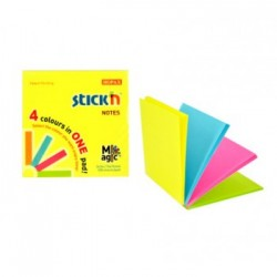"Magic notes autoadeziv 76 x 76 mm, 100 file, Stick""n Magic Notes - 4 culori neon"