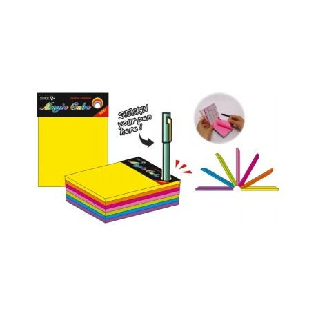 "Magic cube color 101 x 76 mm, 280 file, Stick""n - 7 culori neon"