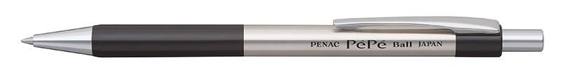 Pix metalic PENAC Pepe, rubber grip, 0.7mm, accesorii negre - scriere albastra