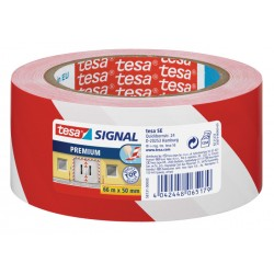 Banda adeziva de marcare Tesa, 50 mm x 33 m, alb cu rosu
