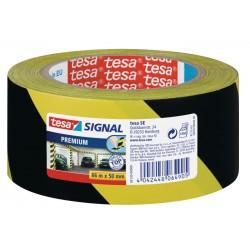 Banda adeziva de marcare Tesa, 50 mm x 33 m, negru cu galben