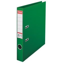 Biblioraft ESSELTE No. 1 Power, A4, plastifiat PP/PP, margine metalica, 50 mm - verde