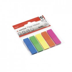 Index A-series, autoadeziv, plastic, 12 x 44 mm, 5 culori/set, 25 file/culoare