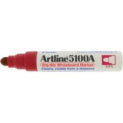 Marker pentru tabla de scris ARTLINE 5100A, corp metalic, varf rotund 5.0mm - rosu