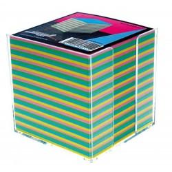 Cub hartie color 9x9x9cm, cu suport plastic, AURORA