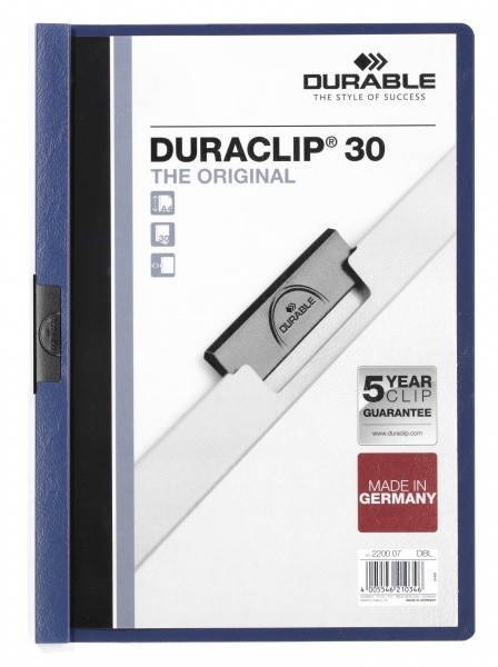Dosar Durable Duraclip Original, 30 coli, albastru inchis