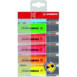 Textmarker Stabilo Boss, varf retezat 2 - 5 mm, 6 bucati/set