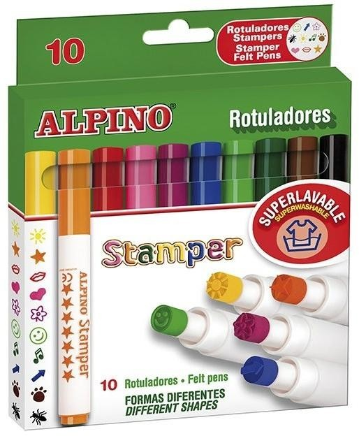 Set 10 stampile, diverse forme, cutie carton, ALPINO Stamper