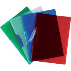 Dosar din plastic cu clema pivotanta, Q-Connect - albastru transparent