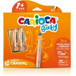 Creioane colorate, 3 in 1, 10 culori/cutie, CARIOCA Baby +1