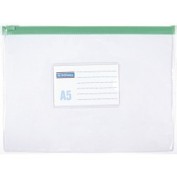 Mapa documente, transparent, inchidere cu fermoar, A5, plastic