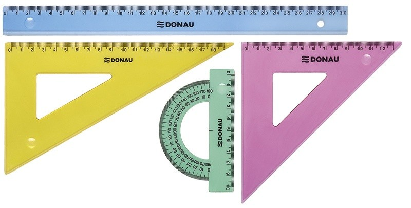 Set geometrie mare, contine: rigla 30cm, raportor, echer 13cm si echer 19cm, DONAU - culori asortate