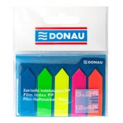 Index autoadeziv din plastic, Donau, 42x12mm, 5 culori neon, 25 file culoare, sageata