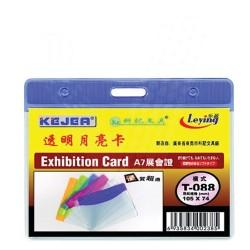 Buzunar PVC, pentru ID carduri, 105 x 74mm, orizontal, 10 buc/set, KEJEA - margine transp. color