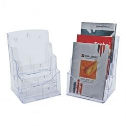 Display plastic pentru brosuri, de birou/perete, 3 x A4-portrait, KEJEA - transparent