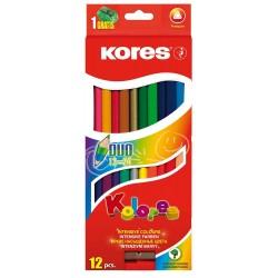 Creioane colorate Kolores Duo cu ascutitoare, 12 culori