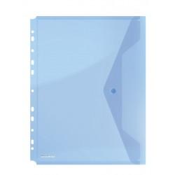 Folie protectie documente A4 portret, inchidere cu capsa, 4/set, 200 microni, DONAU - albastru trans