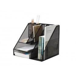 Organizer metalic Mesh, de birou, tavite suporti de reviste, 7 compartimente, Q-Connect - negru