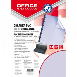 Coperta plastic PVC, 200 microni, A4, 100/top Office Products - albastru transparent