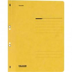 Dosar cu gauri 1/1 Falken Lux, carton, 250 g/mp, galben