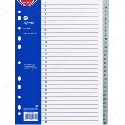 Separatoare Noki, gri, index 1-31, A4, plastic