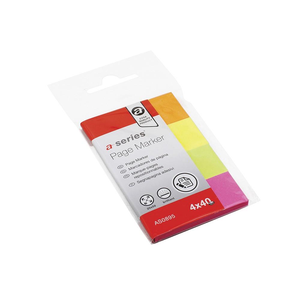Index A-series, autoadeziv, hartie, 20 x 50 mm, 4 culori/set, 40 file/culoare