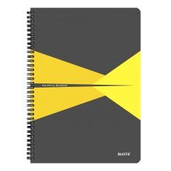 Caiet de birou LEITZ Office, carton, A4, cu spira, matematica - galben