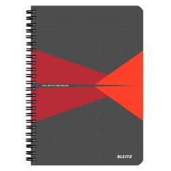 Caiet de birou LEITZ Office, carton, A5, cu spira, matematica - rosu