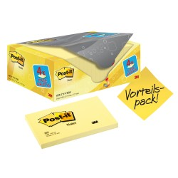 Notite adezive Post-it, 127 x 76mm, 100 file/set, galben, 16 + 4 gratuite