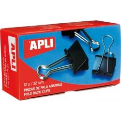 Clipsuri metalice Apli, 19 mm, negru, 12 bucati/cutie