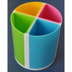 Suport plastic pentru instrumente de scris, cilindric, 4 compartimente , KEJEA - culori asortate