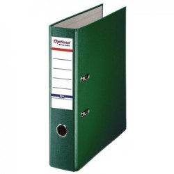 Biblioraft A4, plastifiat PP/paper, margine metalica, 75 mm, Optima Basic - verde