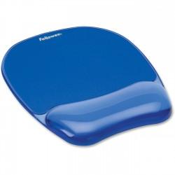 Mouse pad ergonomic cu gel Fellowes Crystal, albastru