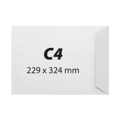 Plic pentru documente C4, 229 x 334 mm, gumat, 80 g/mp, alb, 25 bucati/set