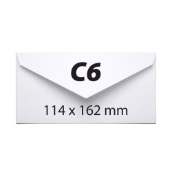 Plic C6, 114 x 162 mm, alb, gumat, clapa V, 70 g/mp, 1000 bucati/cutie