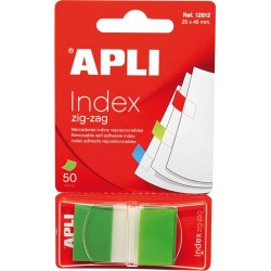 Index Apli Pop-Up verde, 25 x 45 mm, 50 file