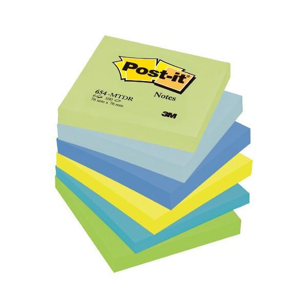 Notite adezive Post-it, 76 x 76 mm, 100 file, 6 bucati/set, nuante neon de verde, albastru, galben
