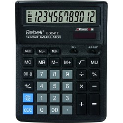Calculator de birou, 12 digits, 193 x 143 x 38 mm, Rebell BDC 412 - negru